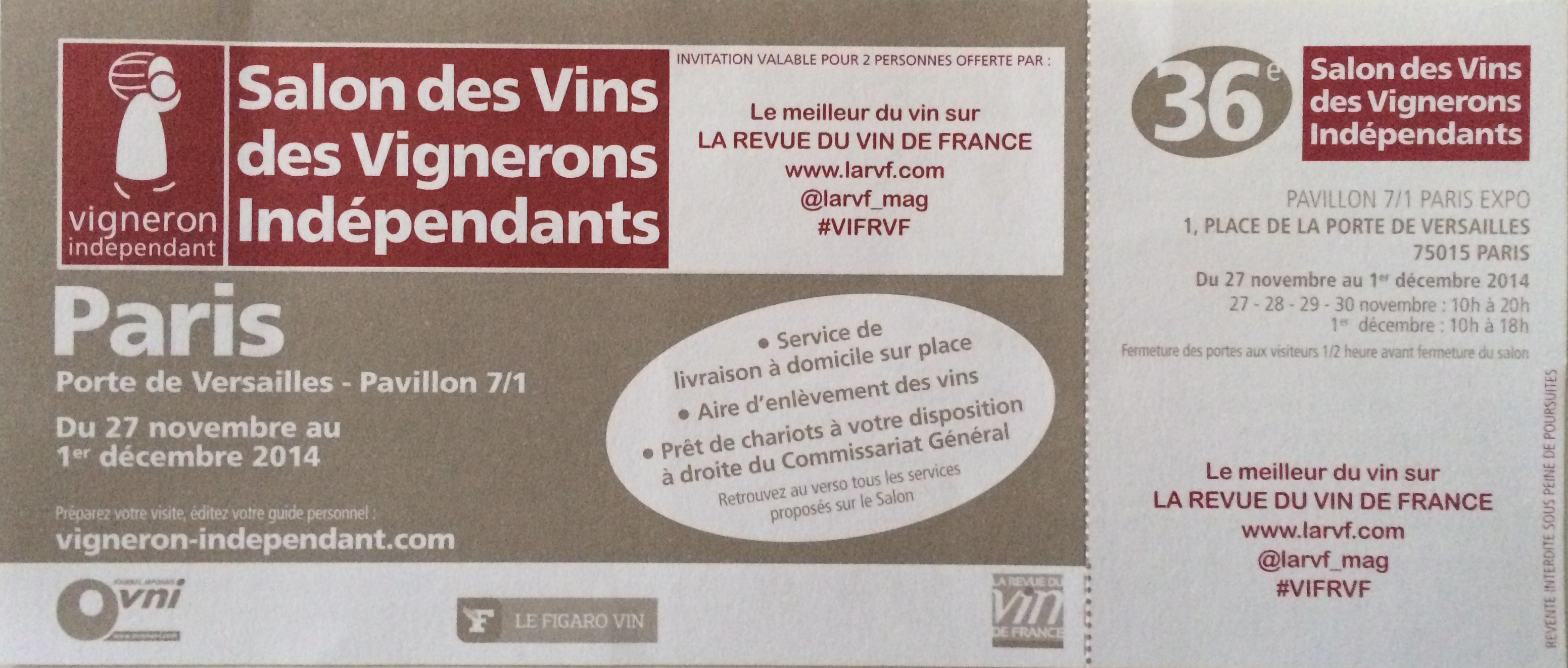 Le salon des vignerons ind pendants 2015 - Invitation salon des vignerons independants ...
