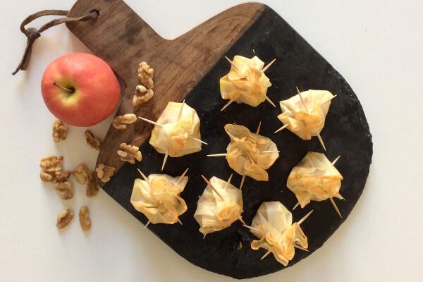 Timbales saulzais, pomme, miel et noix